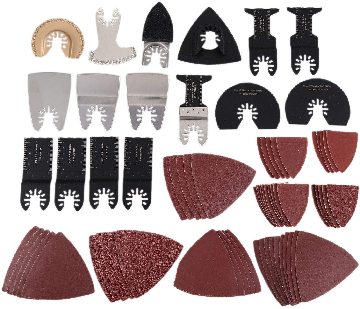 Facibom 70Pcs/Set Multi-Tool Oscillating Saw Blades Accessory Kit Oscillating Tool Blades for Sanding Grinding and Cutting
