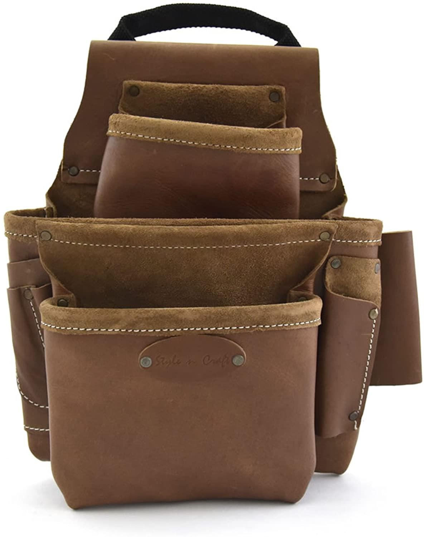Style n Craft 98-436, 8 Pocket Top Grain Nail and Tool Bag