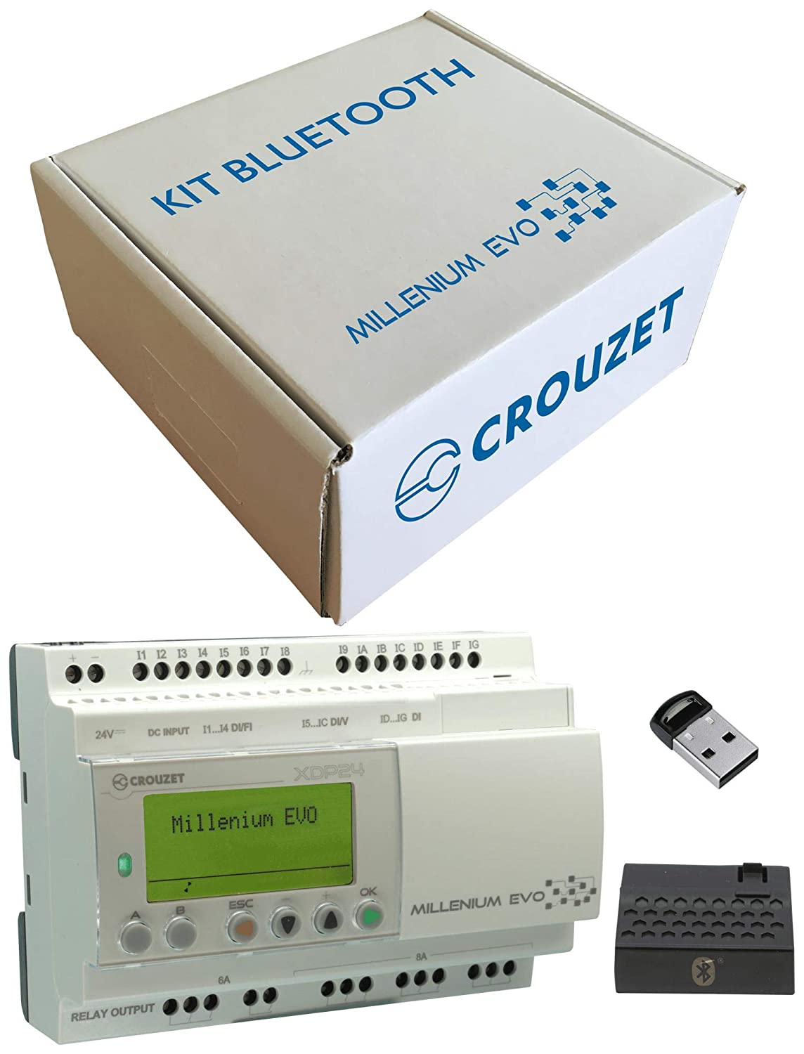 CROUZET AUTOMATION 88975901 Starter Kit, Millenium Evo, 88975101 XDP24 PLC, Bluetooth Interface and Receiver