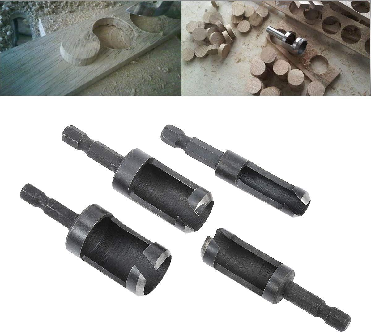 HOHXEN 4pcs Hex Shank Drill Bit Set Plug Wood Cutter Tool Woodworking Tenon for Counter Bored Holes Drill Bits Set