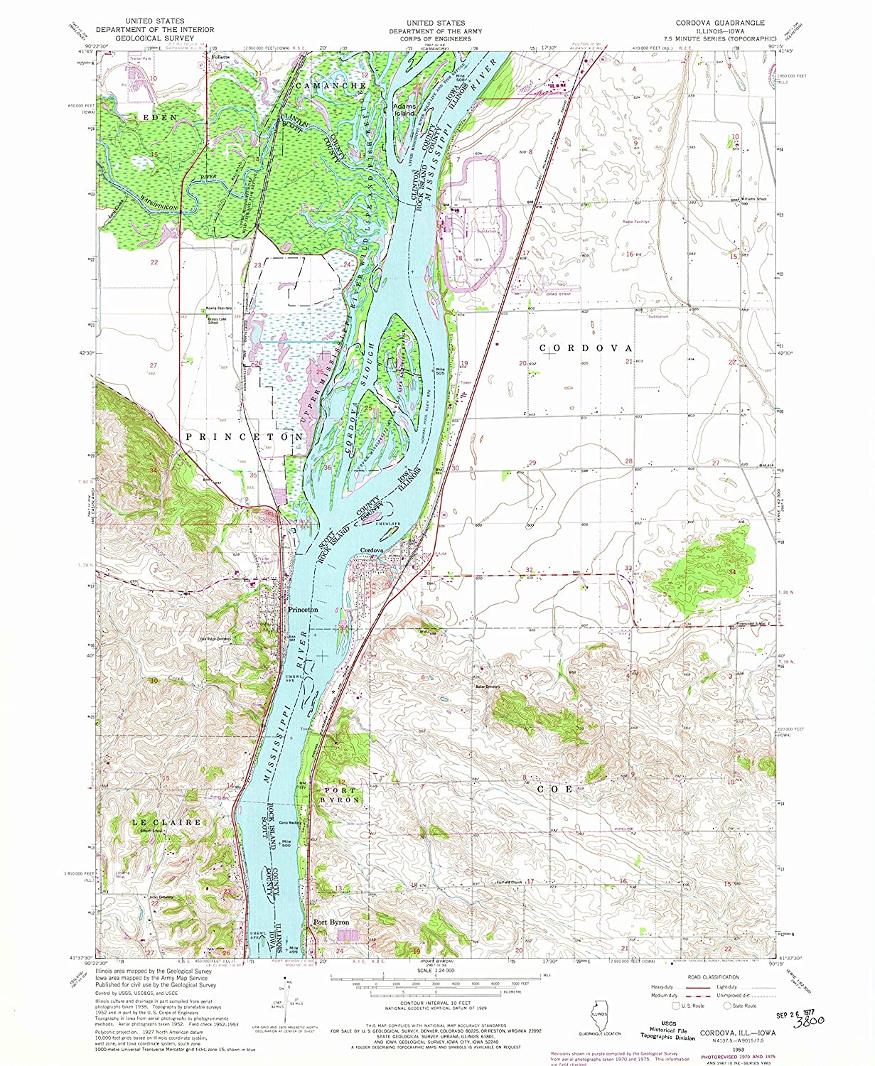 Map Print - Cordova, Illinois (1953), 1:24000 Scale - 24