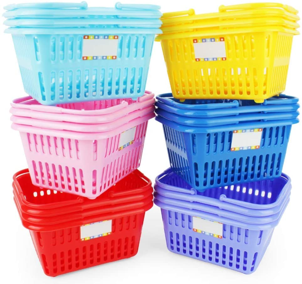 Boley Mini Shopping Basket 18 Piece Set - Small Plastic Retail Shopping Baskets with Handles - Kids Party Favors, Classroom Supplies, or Craft Room Storage
