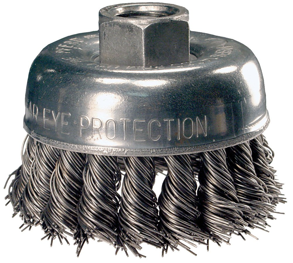 PFERD 82232 Single Row Power Knot Wire Cup Brush with Standard Twist and External Nut, Threaded Hole, Carbon Steel Bristles, 3-1/2