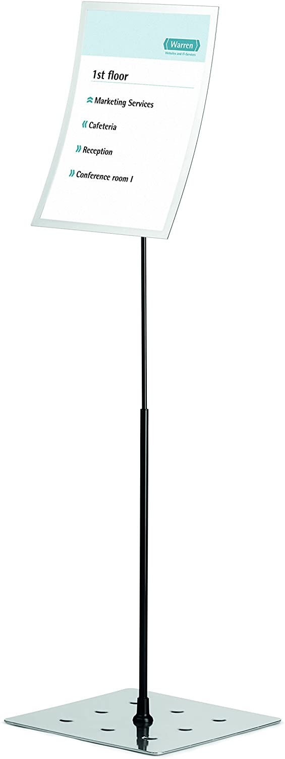 Durable Duraview Floor Stand with Magnetic Display Frame A3- Silver