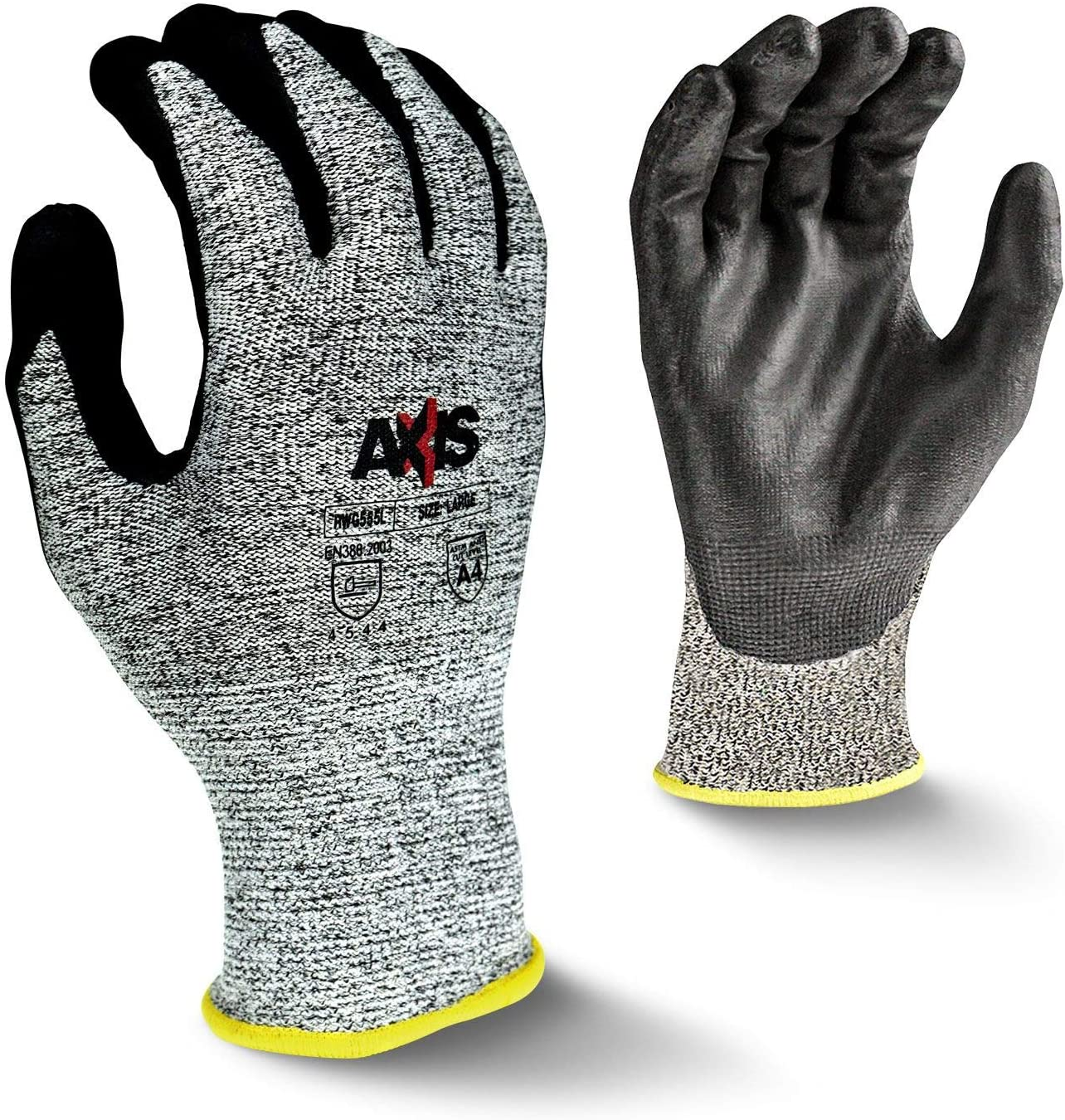Radians RWG555XS Axis Cut Protection Level A4 Work Gloves, Pair, X-Small (Pack of 12)