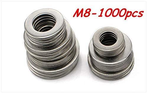 Ochoos 1000pcs M8 304 Stainless Steel Flat Washer Plain Washer Flat Gasket