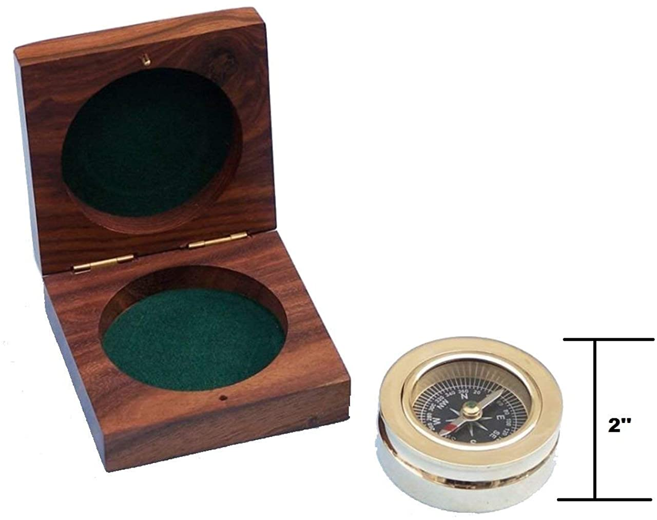 M.A & SONS Brass Paperweight Compasses and Hardwood Box
