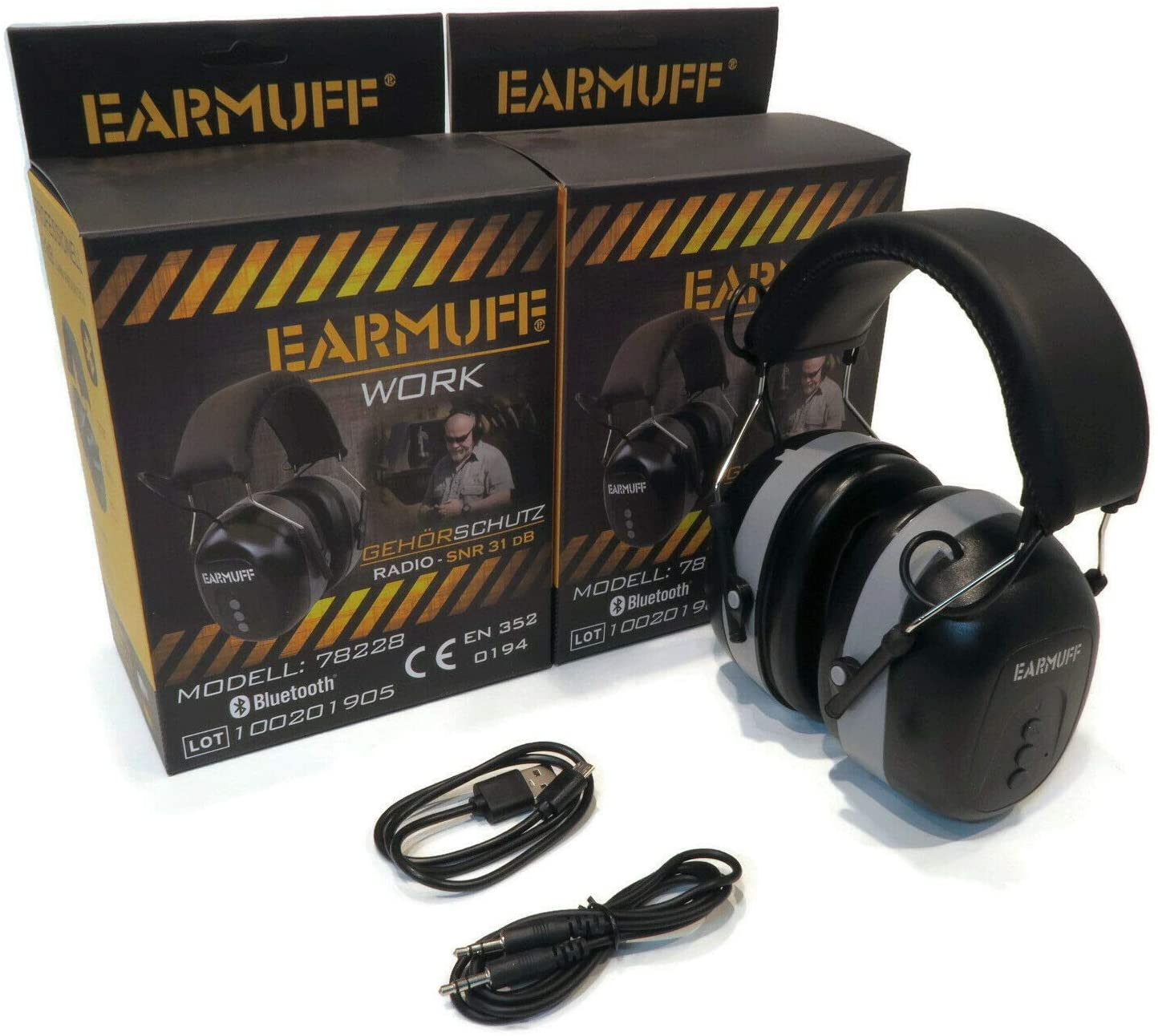 (Pack of 2) EarMuff Headphones, Black, Connect Hearing Protector with Bluetooth