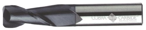 Cobra Carbide 19252 Micro Grain Solid Carbide Regular Length General End Mill, Uncoated (Bright) Finish, 2 Flute, 30 Degrees Helix, 0.020