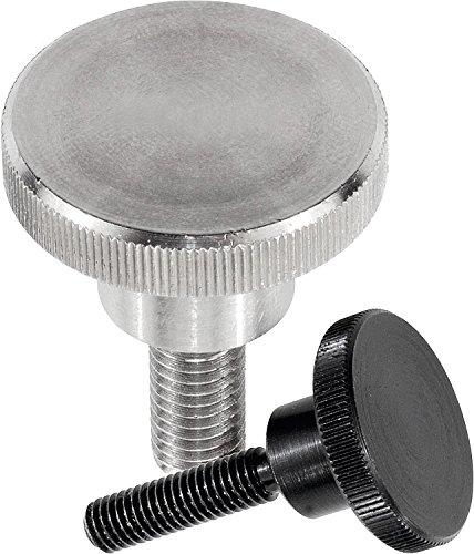 Kipp 06090-08X16 Steel Knurled Thumb Screws with M8 External Thread, Metric, Black Oxide Finish, 16 mm Screw Length (Pack of 10) (Pack of 10)