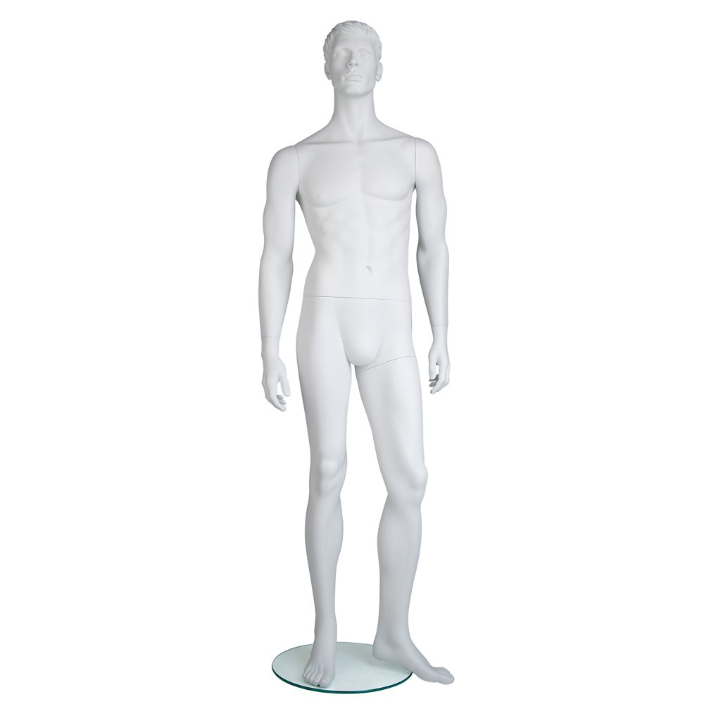 Mondo Mannequins EAMH-1 Male Mannequin, Molded Head, Arms by Side, Left Leg Slightly Bent, Position 1, True White #109