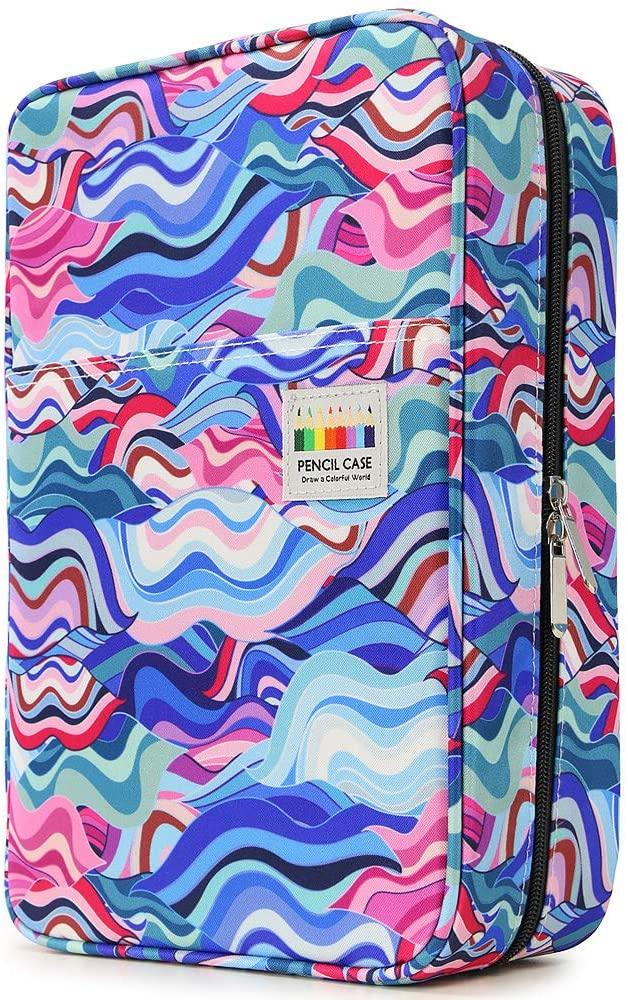 YOUSHARES Big Capacity Colored Pencil Case - 300 Slots Large Pen Case Organizer with Multilayer Holder for Prismacolor Colored Pencils & Gel Pen (Wavy Blue)