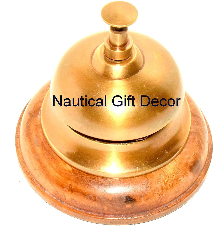 Hotel Bell, Italian Cast Brass, antique finish, wooden base