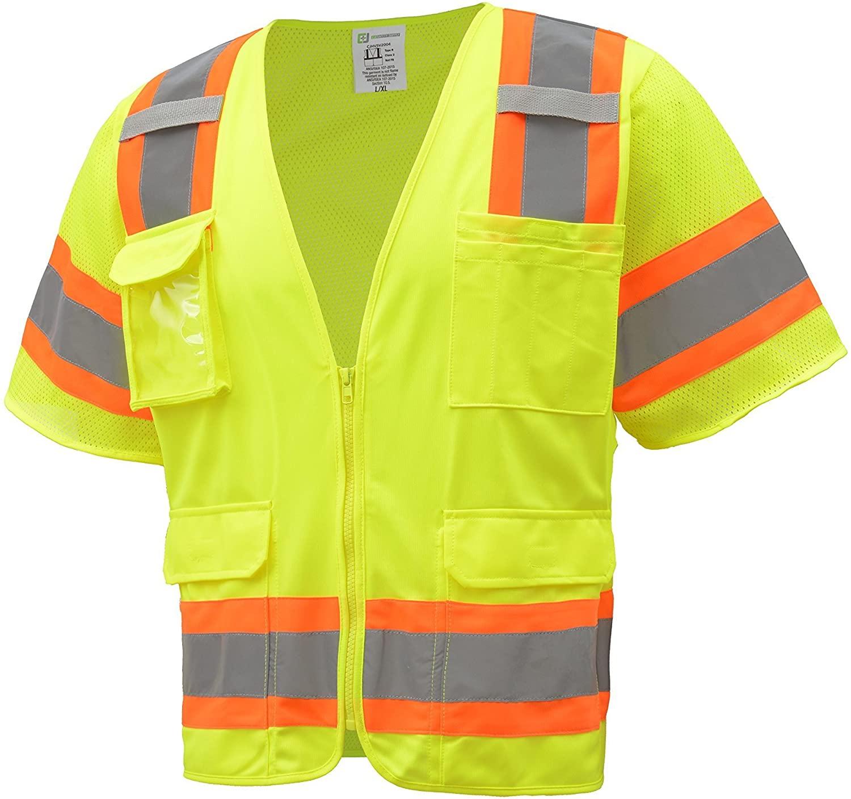 CJ Safety CJHVSV3002 Surveyor Safety Vest, Large/X-Large, Green