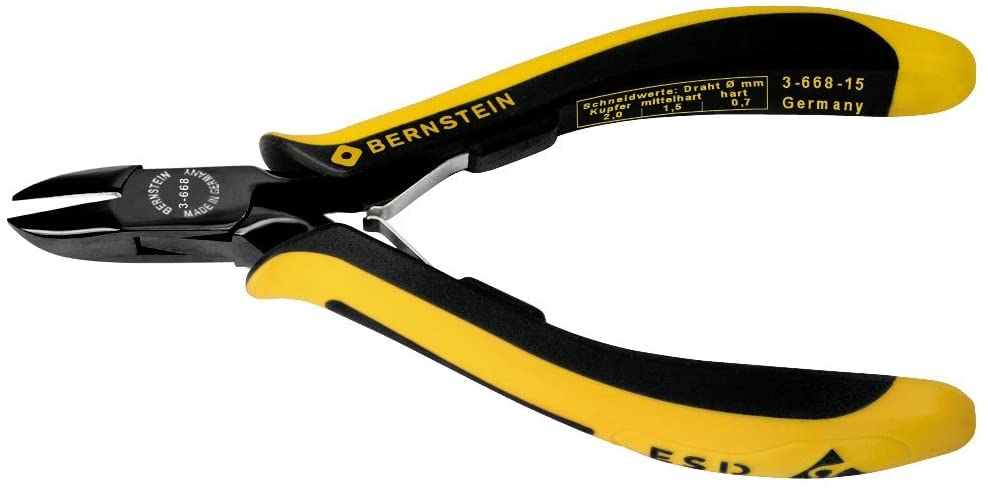 Bernstien Side cutters EUROline, 135 mm, with rounded head, Semi Flush, dissipative bicoloured hand guard