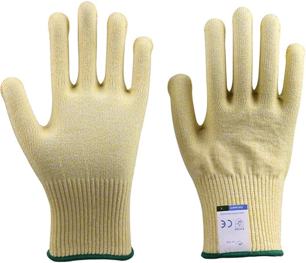 Cut-resistant Gloves, Ultra-durable Series Of Anti-cutting Gloves - High Performance Level 5 Protection, Food Grade (Color : Yellow, Size : L)