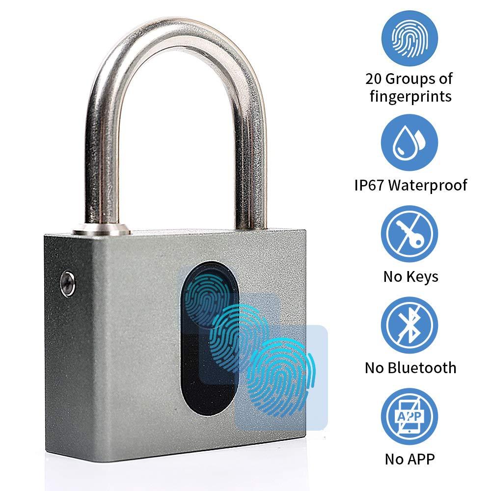 Fingerprint Padlock, Meisort Smart Thumbprint Lock USB Rechargeable IP67 Waterproof Keyless Padlock for Suitcase, Backpack, Gym, Bike, Locker CE RoHs Approved
