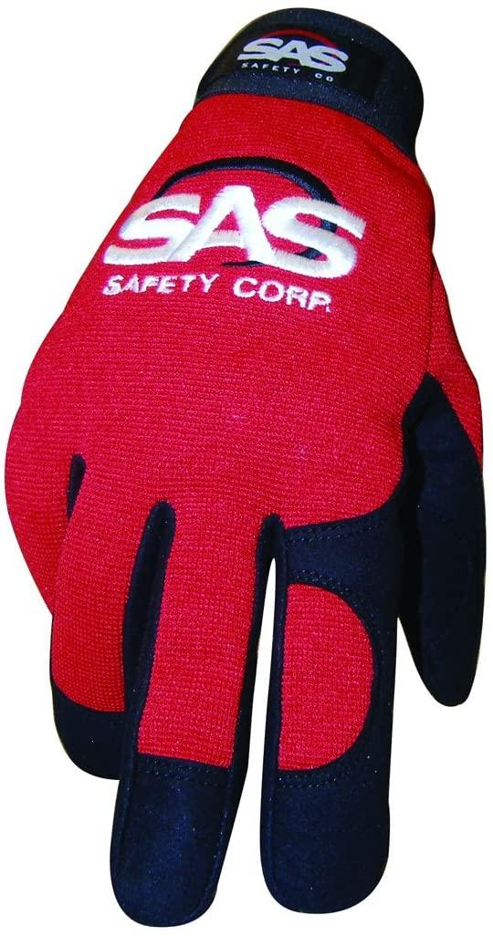 SAS Safety 6674 Mechanics Pro Tool Safety Gloves, Red, X-Large