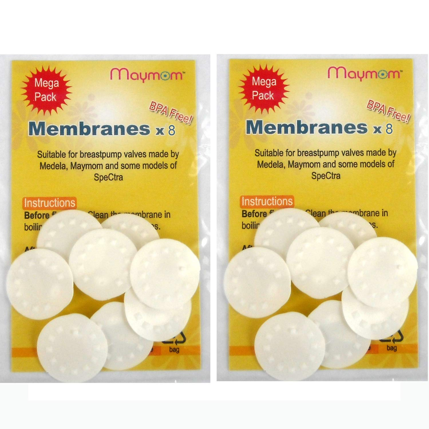 Membranes for Medela Breastpumps, 16pc Value Pack, Suitable for Lactina, Manual Freestyle, Symphony, Swing, Pump in Style Pumps, Part # 87088