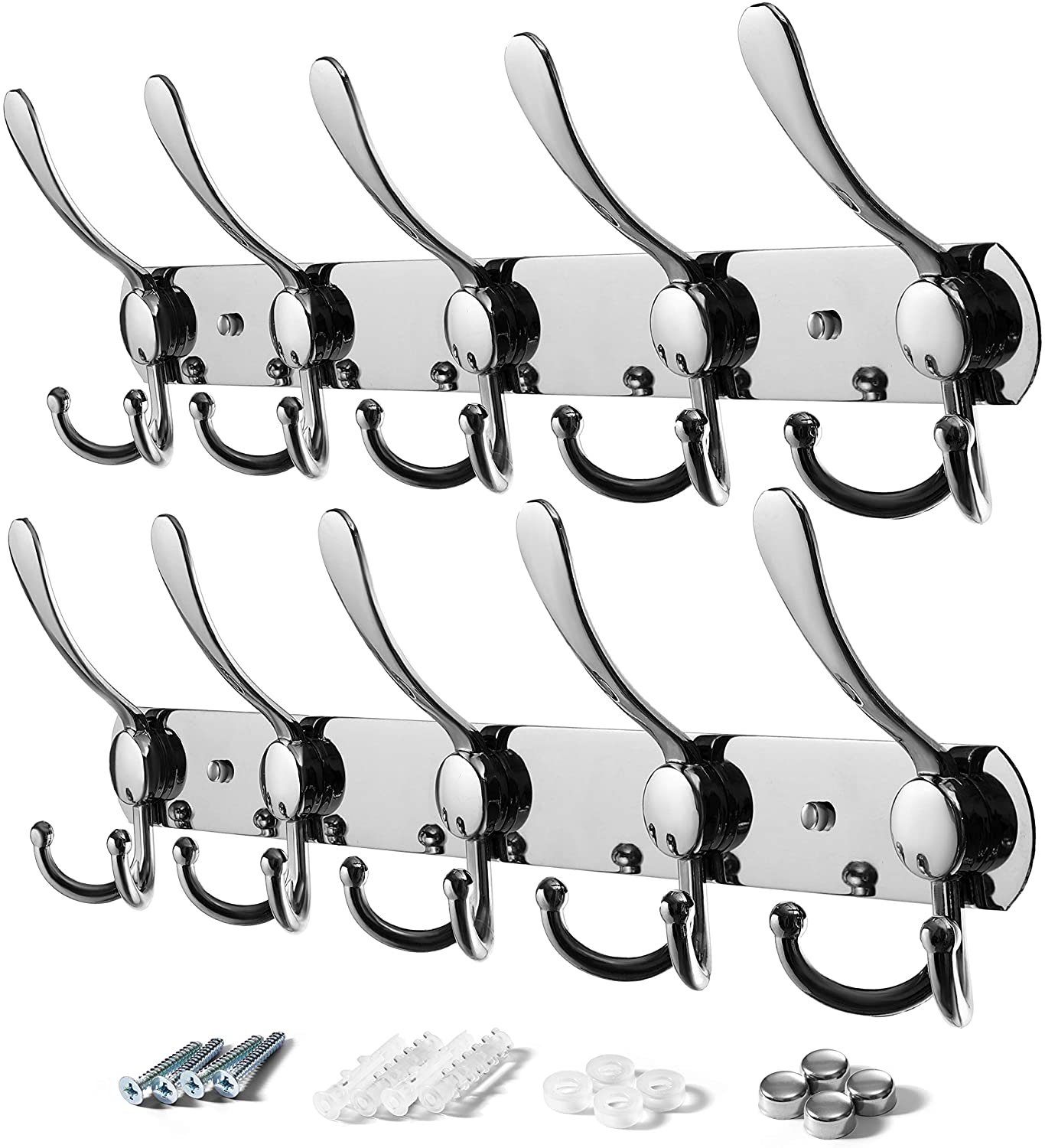 VASGOR 2pcs Heavy Duty Wall Mounted Coat Hook, Stainless Steel Rack of 5 Tri Hooks for Coats, Towels, Purse Robes Keys and Hats Multi Purpose for Kitchen, Bedroom, Bathroom, Entryway (Silver)