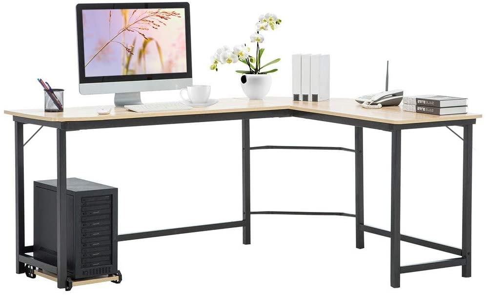 Maikouhai Home Office Corner Desk Computer Table Steel Wood Study Office Desk Workstation L Shaped