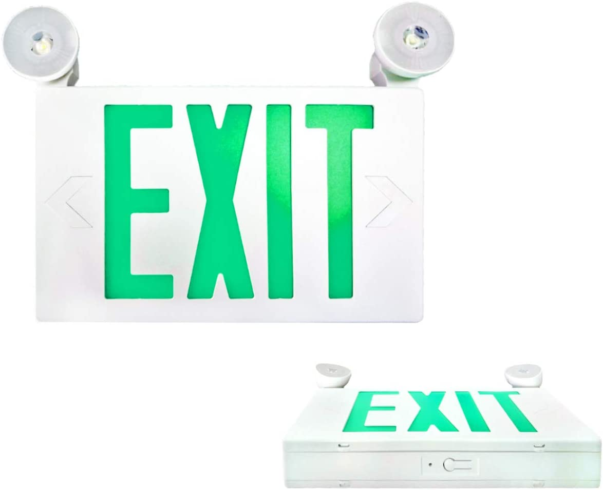 SPECTSUN 2 Pack LED Exit Sign Battery Backup, Green Exit Emergency Light with 2 Lamp Heads, Fire Exit Sign with Emergency Lights, Hardwired Exit Sign, 120V Exit Sign, Commercial Emergency Exit Sign
