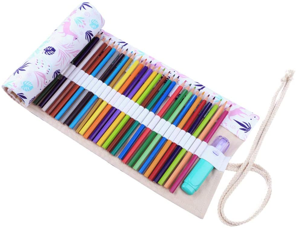 Molshine Handmade Canvas Flowers Style Colored Pencils Wrap 48 Holes, Roll up Pen Holder Case Cute and Multi-Purpose (NO Pencil Included)