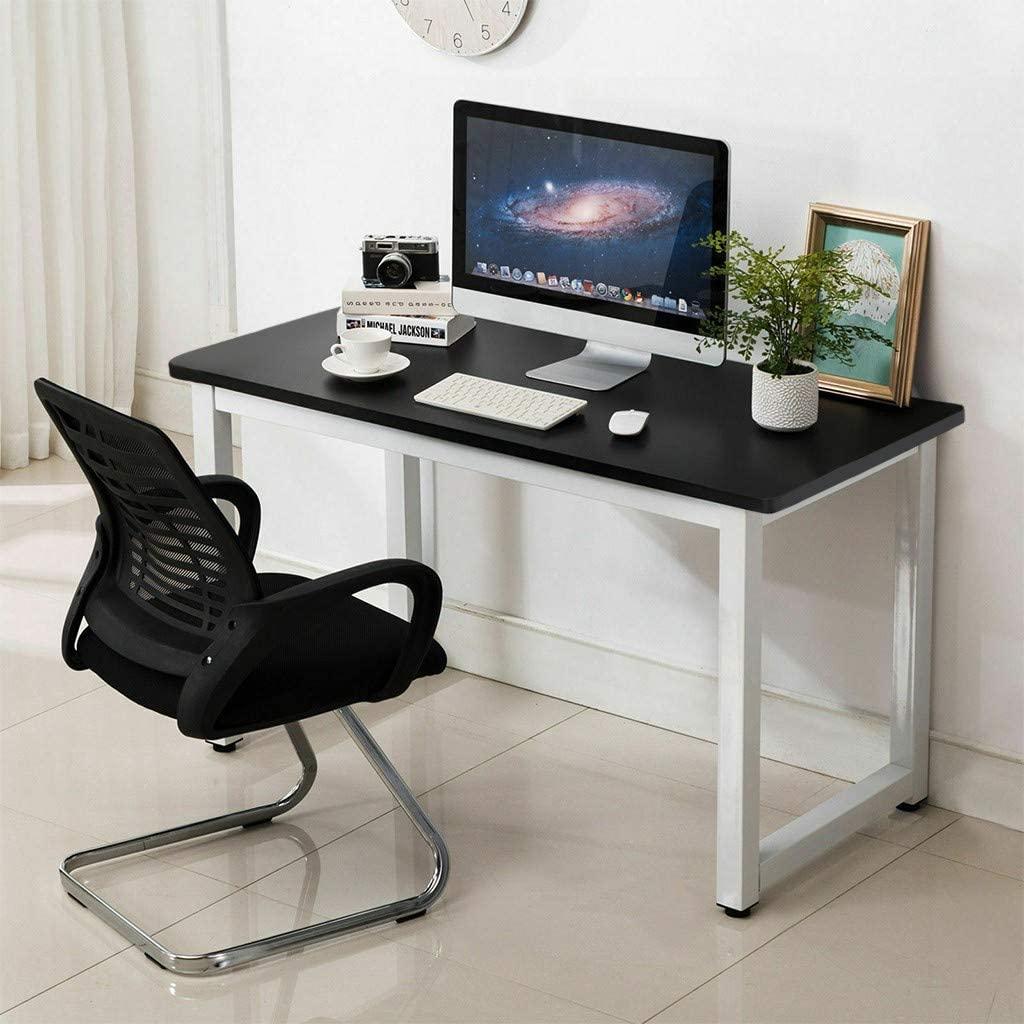 ZIPSAK Home Office 47-Inch Computer Desk, Modern PC Laptop Study Table Office Writing Computer Desk Workstation, Black