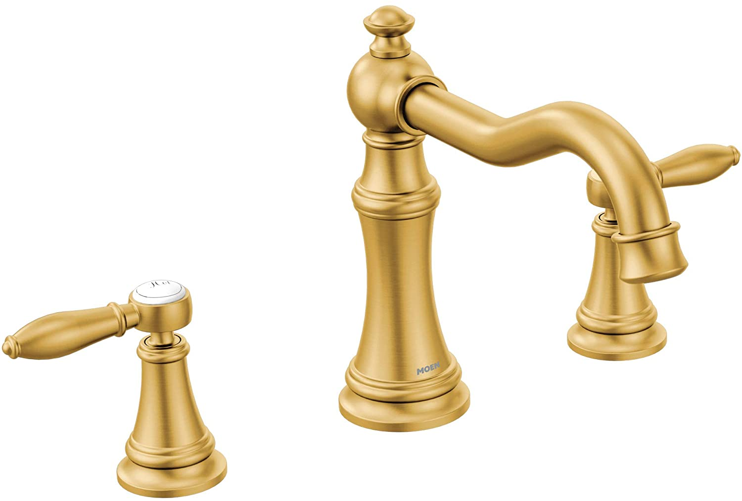 Moen TS22103BG Weymouth Two-Handle Roman Tub Faucet with Lever Handles Trim Kit, Valve Required, Brushed Gold
