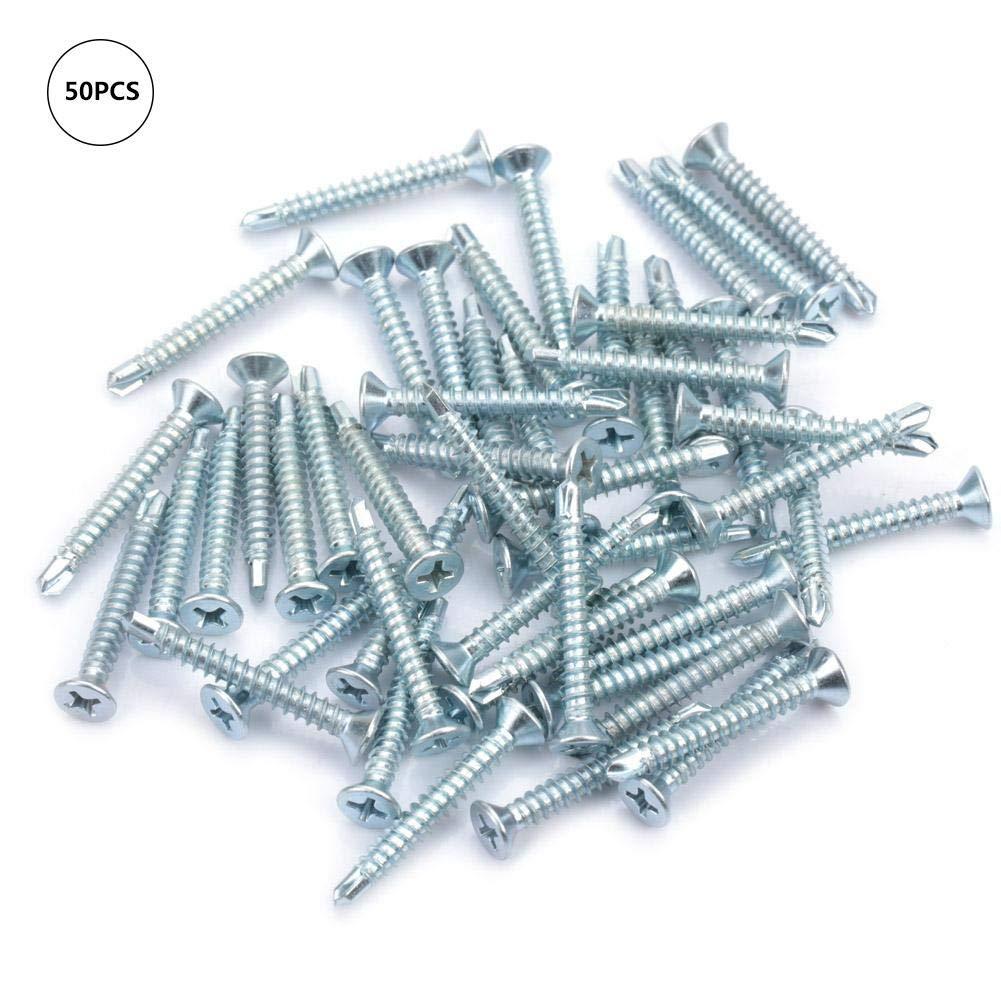 50pcs Zinc Plated Iron M4.2 Flat Head Self Drilling Screws Self-Tapping Screws Drilling Tail Screw Set Screws Assortment Kit M4.219, M4.225, M4.232, M4.238, M4.250(2#)