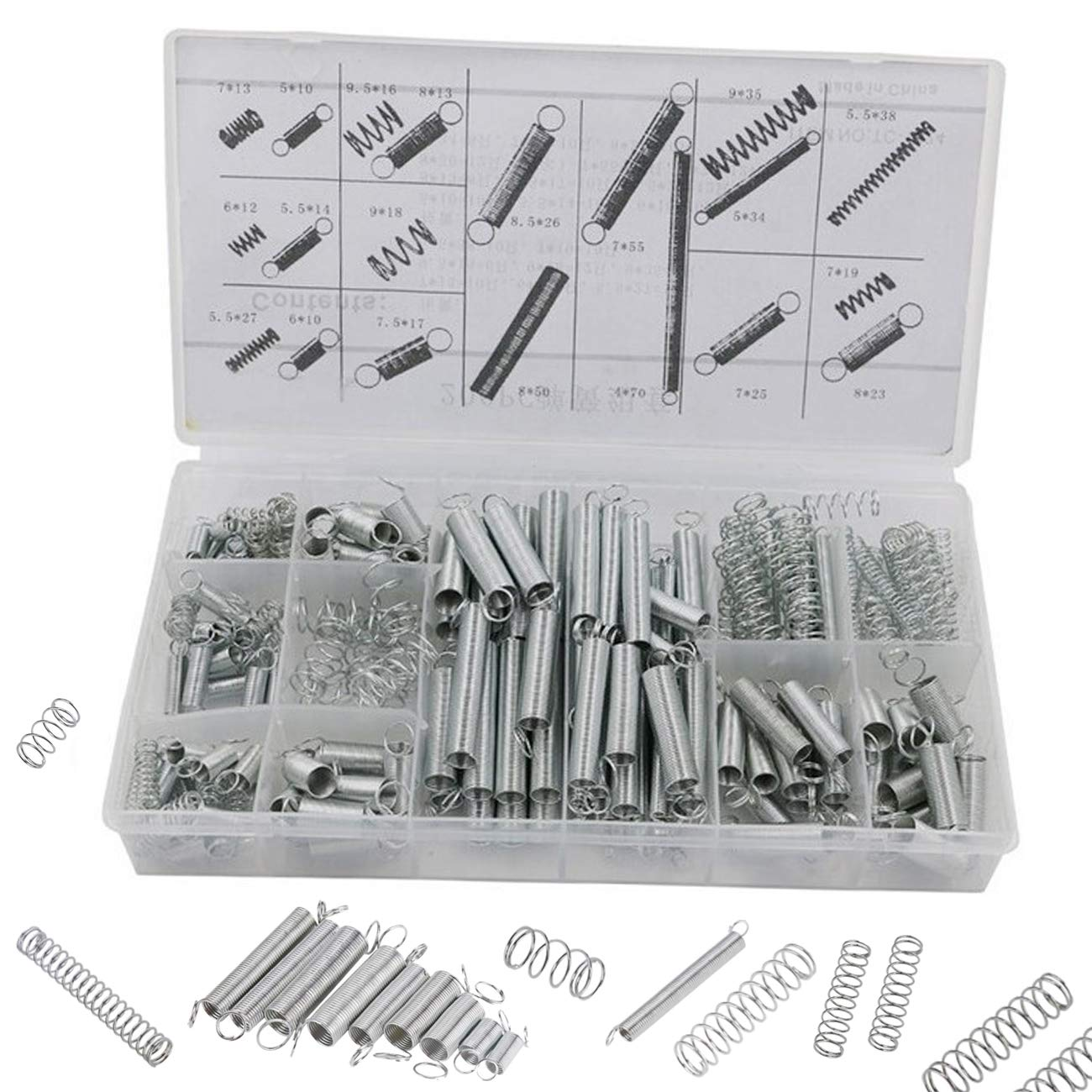 TinaWood Compression and Extension Spring Assortment - 200 Piece Set of Heavy Duty and Durable Compressed Spring - Tools & Equipment, Hand Tools
