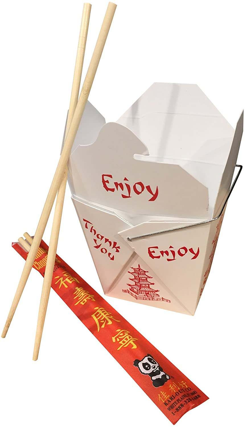Combo - Pack of 25 Chinese Take Out Boxes Pagoda 16 oz/Pint Size Party Favor and Food Pail with 25 Chopsticks