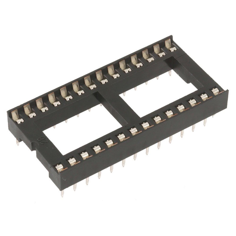 Major Brands 6000-28W Dual Wipe Low Profile IC Socket, DIP Solderable, 28-Pin, 0.6