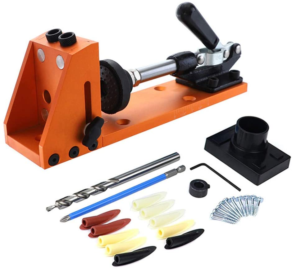 DIY Woodworking Hole Puncher Locator Opener Wood Working Pocket Drilling Hole Jig kit Oblique Hole Drill Inclined hole puncher with Toggle Clamp and Step Drill Bit (Orange)
