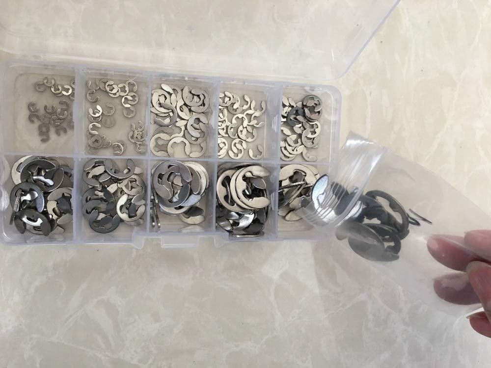 Ochoos 200pcs/lot Stainless Steel Opening snap Ring,e -Clip retaining Ring Washer 1.5/2 /3/4/5/6/7/8/9/10mm retaining Ring kit
