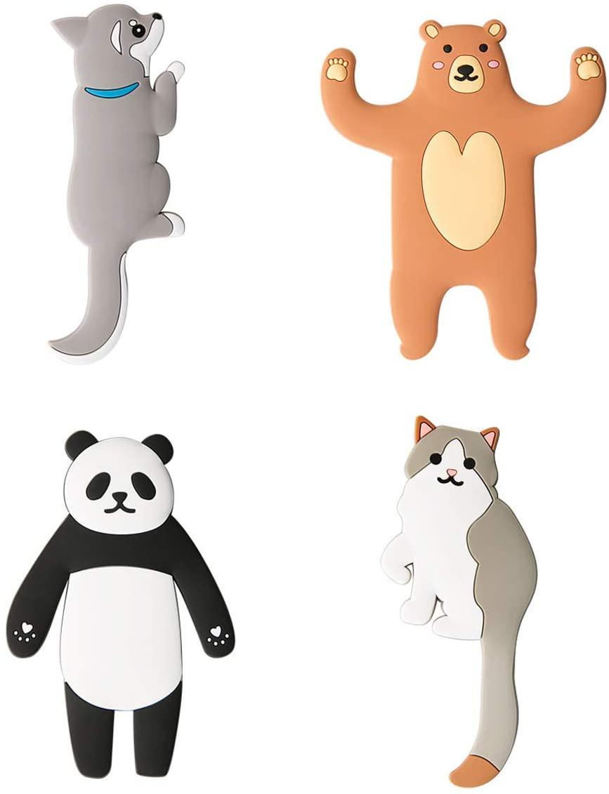 Vpang 4 Pcs Cute Cartoon Animal Adhesive Wall Hooks Reusable Waterproof Key Hook Key Holder Hanger Hanging Hooks for Home, Kitchen, Bathroom