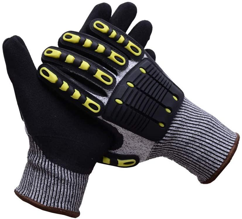 UNINOVA Cut Resistant Gloves - Mechanic Work Gloves Level 5 Nitrile Coating - Shockproof Hand Protection (L)
