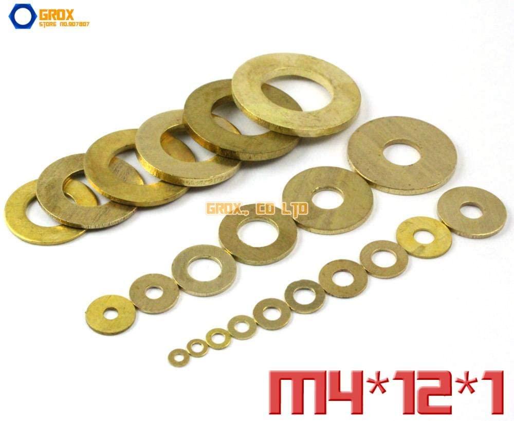 Ochoos 100 Pieces M4 x 12 x 1mm Brass Flat Washer