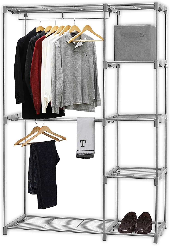 Simple Houseware Freestanding Clothes Garment Organizer Closet, Silver