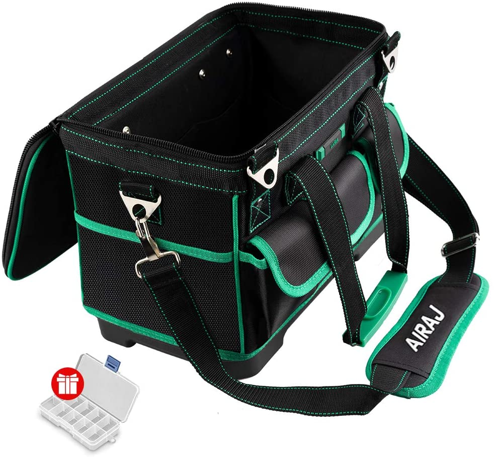 AIRAJ Multi-functional Hacksaw Frame and 16 inch Fabric Tool Bag, with10 Replacement Blades, Large Capacity Waterproof Tool Storage Bag