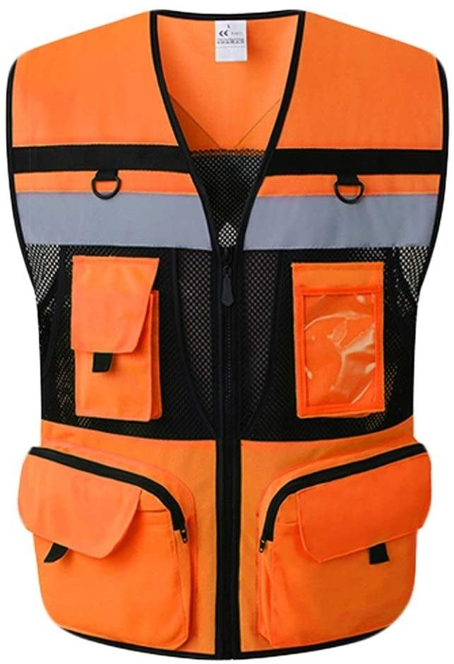 Safety Vest High Visibility Waistcoat Light and Breathable at Night Work Clothes Reflective Safety Vest 2Pcs Child Safety Vest (Color : Fluorescent red, Size : M)