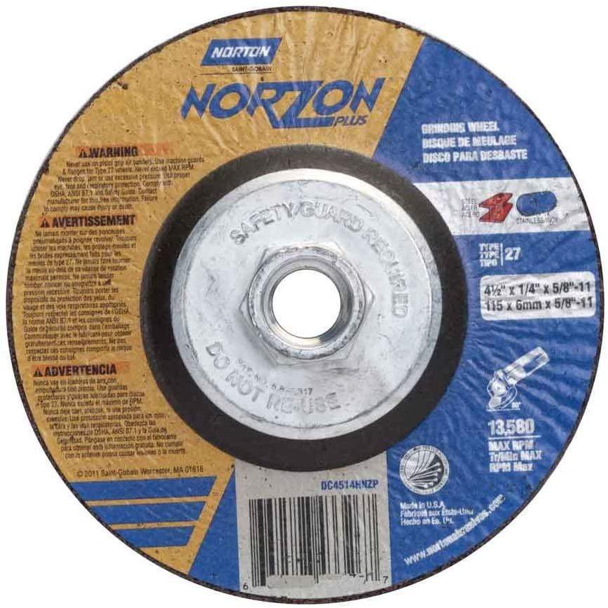 Norton 66252829541 4-1/2x1/4x5/8-11 in. NorZon Plus Depress Center Wheels, Type 27, 20 Grit, 10 pack