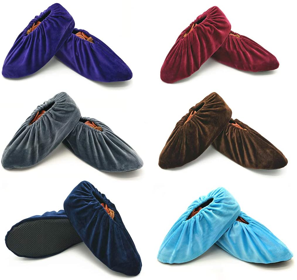 6 Pairs Non Slip Washable Reusable Shoe Covers For Household Thickened Boot Covers Dust-free Workshop Reusable Overshoes (purple+Red wine+dark blue+Coffee+gray+Light blue)