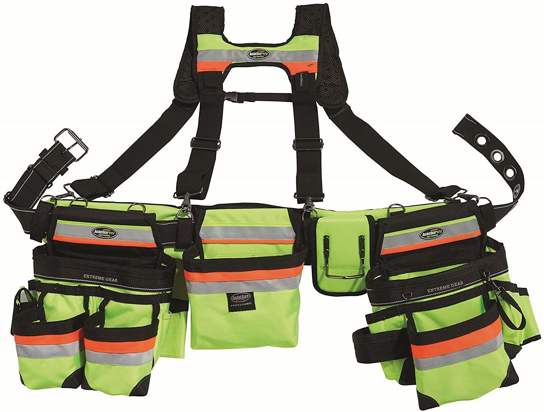 Bucket Boss - HI-VIS Framer's Tool Belt with Suspenders, Tool Belts - Professional Series (55185-HVOY)