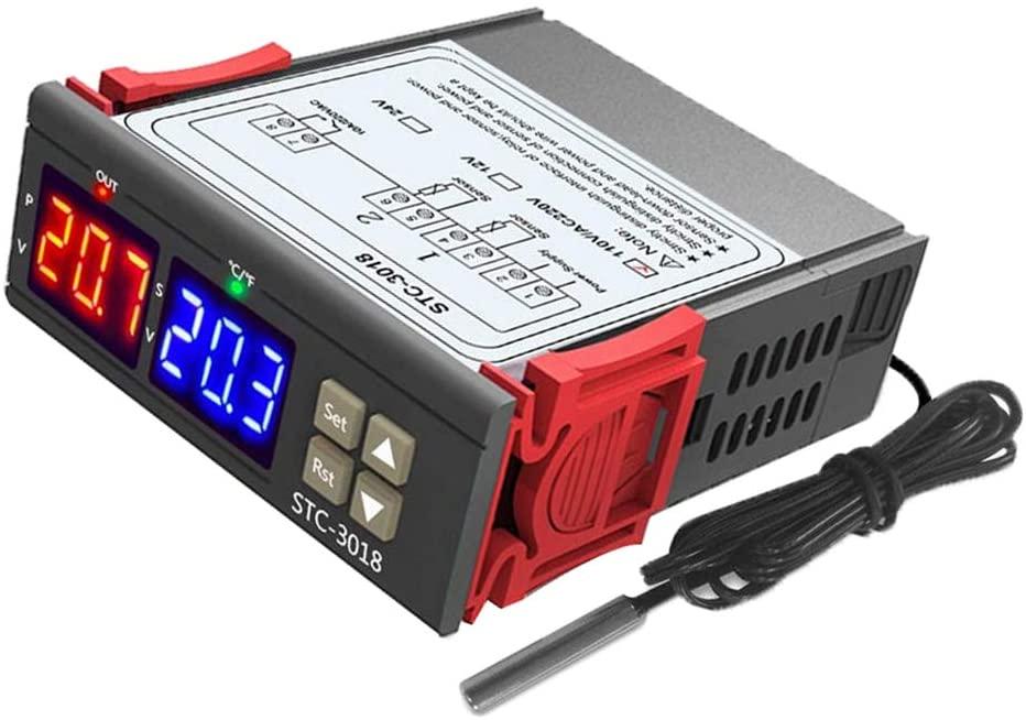 yotijar STC-3018 High Precision Dual Digital Temperature Controller Switch for Home, Farm, Various Cold Storage, Greenhouse, Aquarium, etc. - 24V