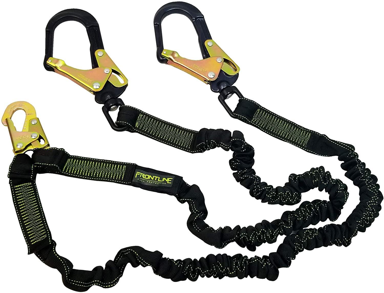 Frontline LIS62RA Elastic Double Leg 6' Lanyard with Aluminum Rebar Hooks   Twin Lanyard 1 Snap Hook and 2 Rebar Hook Ends   ANSI & OSHA Compliant Fall Protection   6000 lbs. Min. Breaking Strength