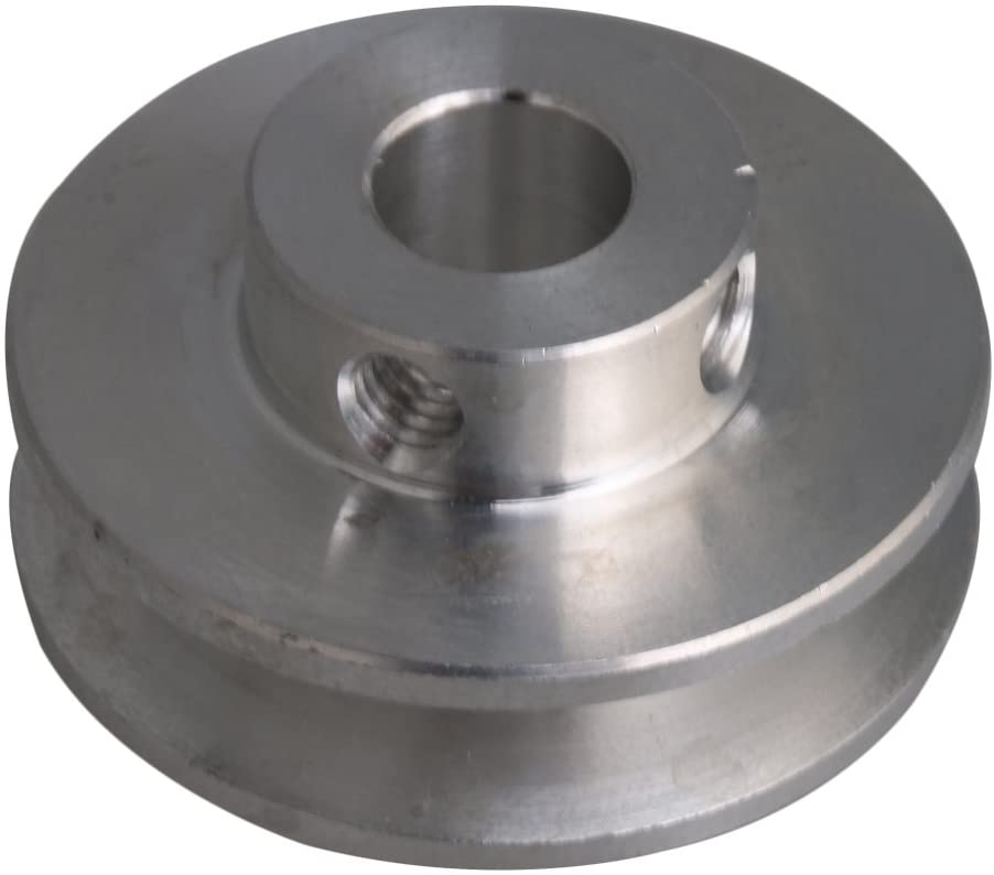 CNBTR 3.1x1.5x0.8cm Silver Aluminum Alloy 0.8cm Fixed Single Bore V-shape Groove Pulley Wheel for Motor Shaft 0.3-0.5cm PU Round Belt