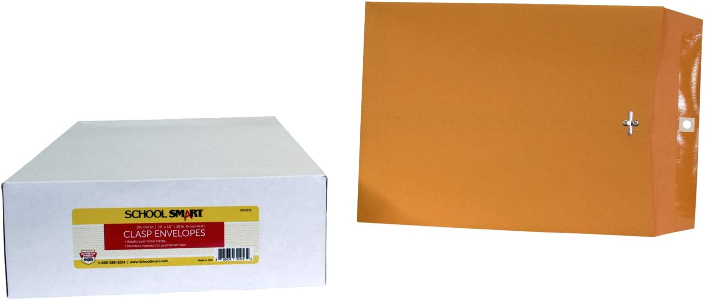 School Smart - 85046 Kraft Envelope with Clasp, 10 x 13 Inches, Pack of 100