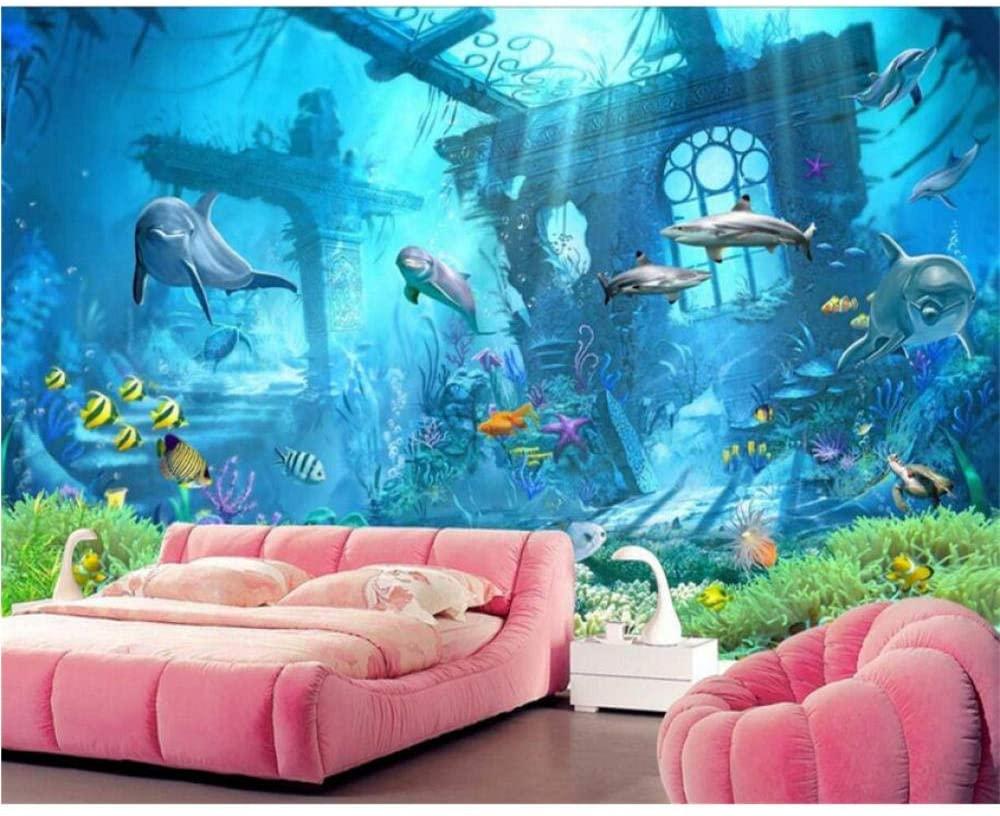 hwhz 3D Mural Wallpaper peelable Custom Wallpapers Kids Room 3D Wallpapers Dolphins Blue Underwater World Background Walls 3D Wallpaper -120X100Cm
