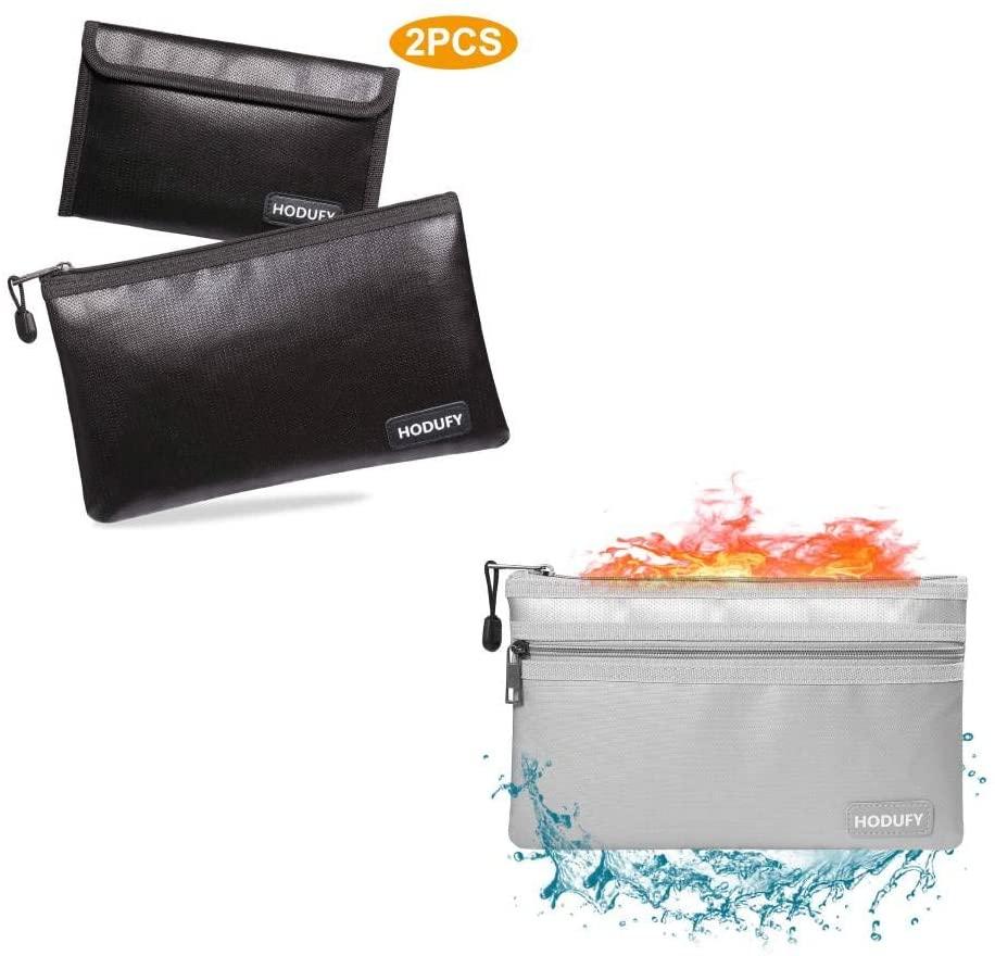 Hodufy Fireproof Money Bag 2pcs+Hodufy Fireproof Money Bag(Gray)
